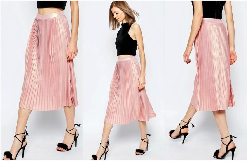 ASOS Pleated Midi Skirt with Metallic Foil €49.29