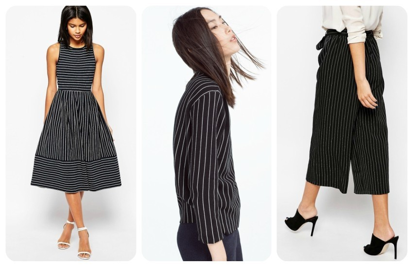 ASOS Midi Skater Dress In Pinstripe With Cross Back $46.00 / ZARA PINSTRIPE SWEATER 249.90 Kn / New Look Pinstripe Culottes $33.00
