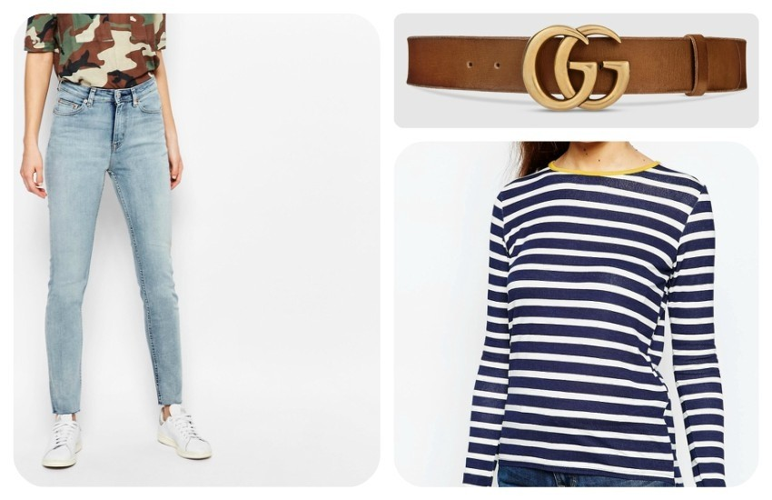 Weekday Thursday High Waist Skinny Jeans €49.29 / Gucci Leather belt with double G buckle £ 270 / Daisy Street Stripe T-Shirt with Contrast Trim €18.30