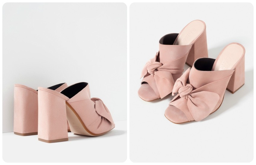 ZARA LEATHER HIGH HEEL SLIDES WITH BOW 499.90 Kn