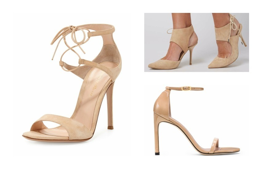 Gianvito Rossi Suede Double Ankle-Wrap Sandal / TOPSHOP GALLERY Asymetric Court Shoes  £50.00 / STUART WEITZMAN NUDISTSONG €398