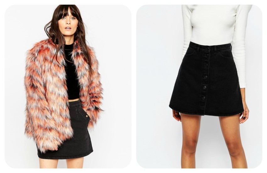 ASOS Coat In Chevron Faux Fur €67.60 / Monki Denim A-Line Skirt €35.21