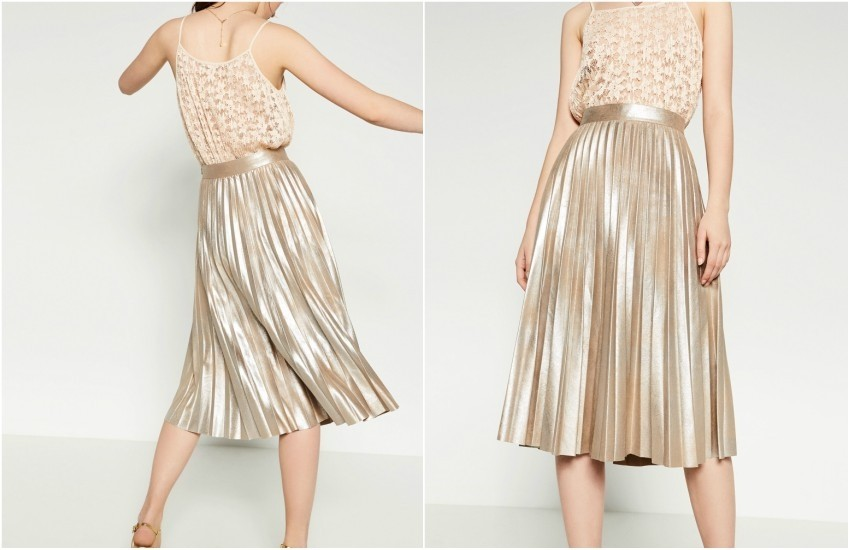 ZARA FINELY PLEATED METALLIC MIDI SKIRT 349.90 Kn