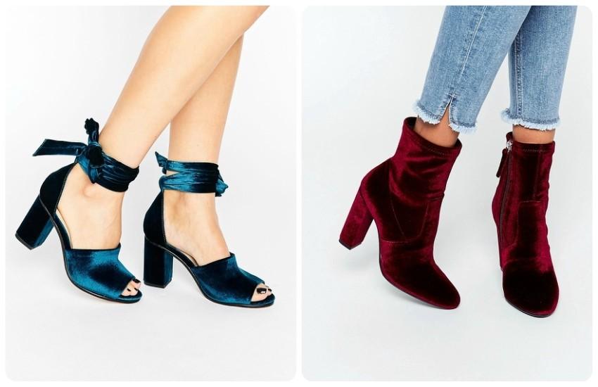 River Island Velvet Block Heel Tie Up Shoe £48.00 / Steve Madden Editt Velvet Sock Heeled Ankle Boots £75.00