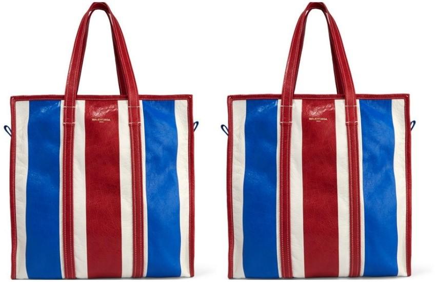 Balenciaga Bazar striped textured-leather tote  £975