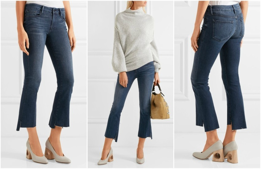 FRAME Le Crop Mini frayed mid-rise bootcut jeans £250