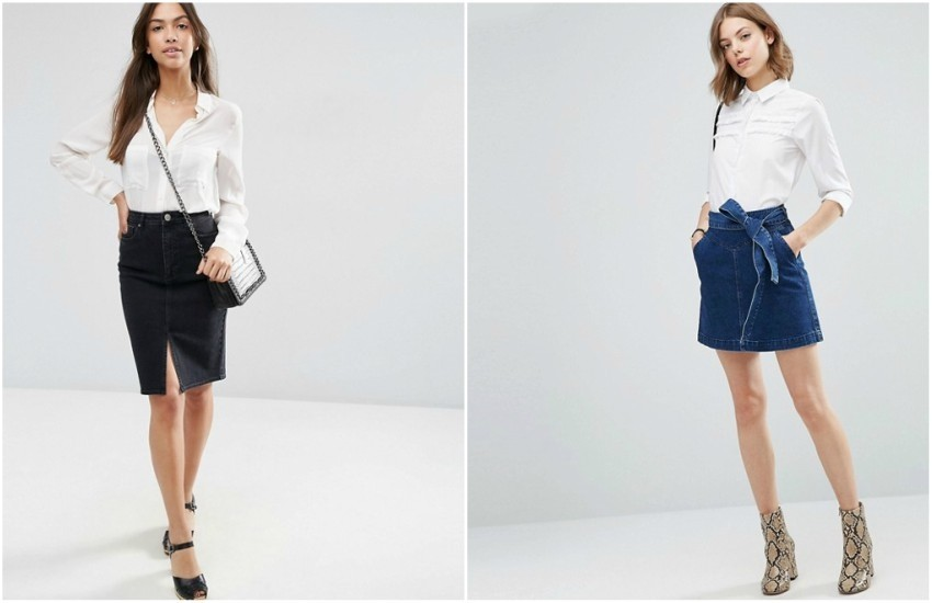 ASOS Denim Pencil Skirt in Washed Black // ASOS Denim Mini Skirt with Self Fabric Bow