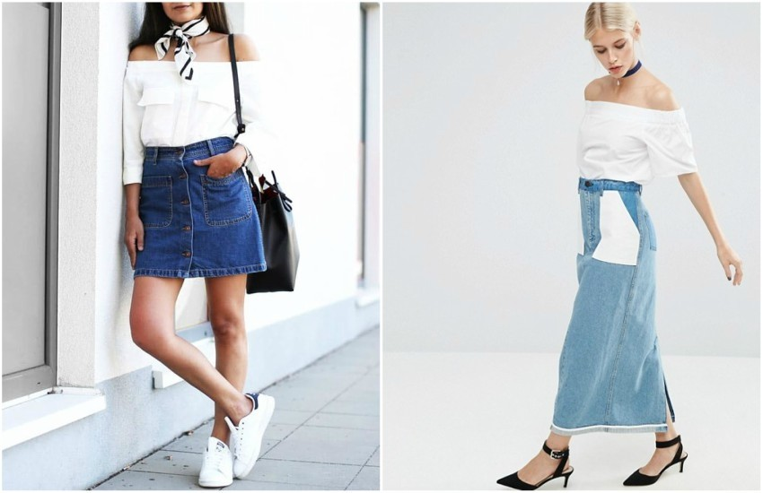 FASHION LANDSCAPE // ASOS Denim Reversed Slim Midi Skirt in Mid Wash Blue