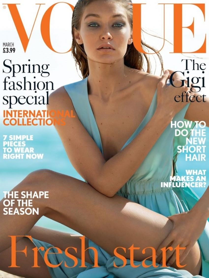 Gigi Hadid na naslovnici britanskog Voguea za ožujak