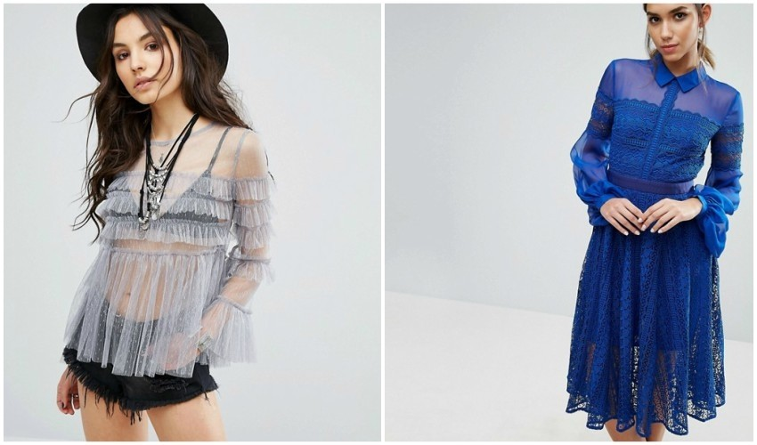 Glamorous Sheer Mesh Top With Ruffles
