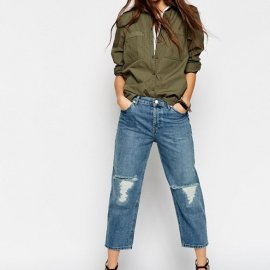 ASOS Maddox Parallel Jeans In Stevie Mid Wash Blue with Knee Rip and Repair ($69)