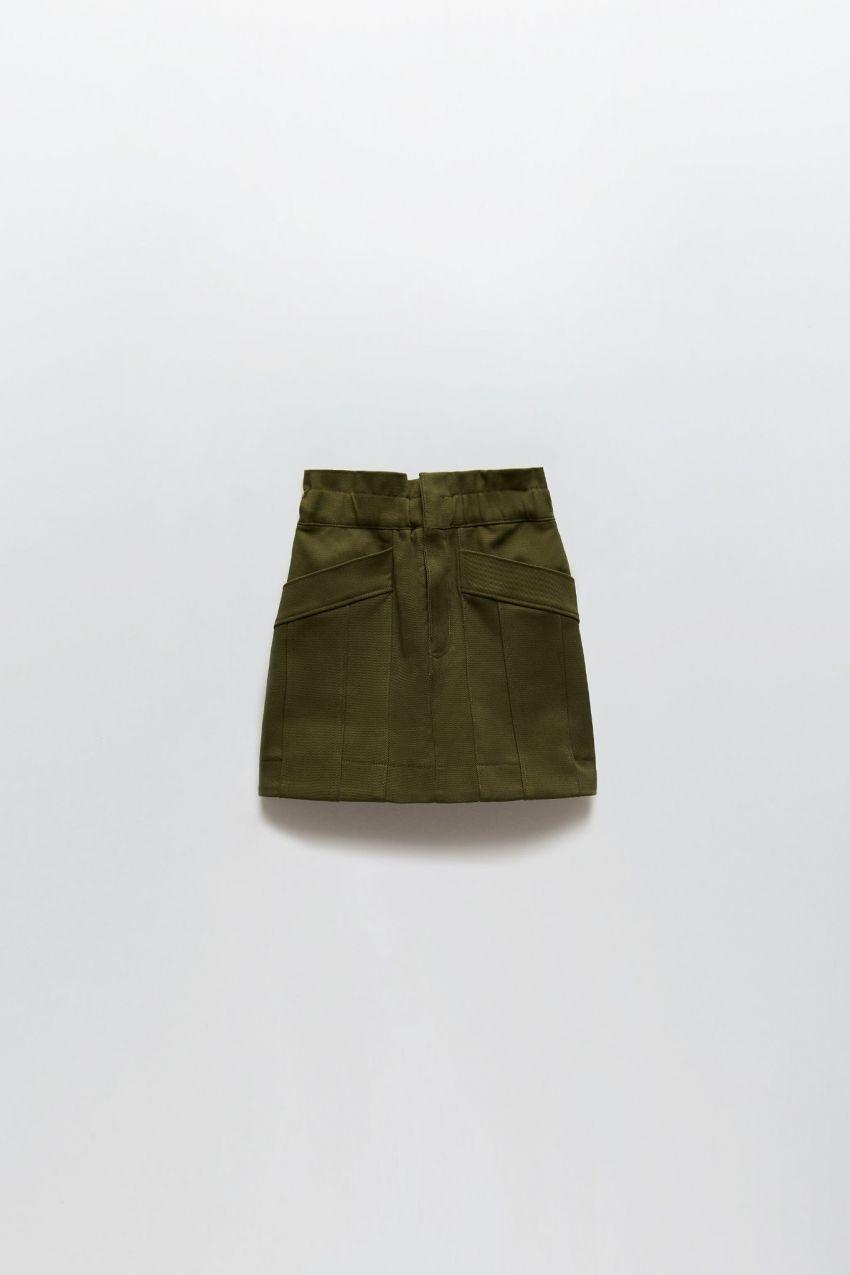 mini suknja, masl. zelena, zara