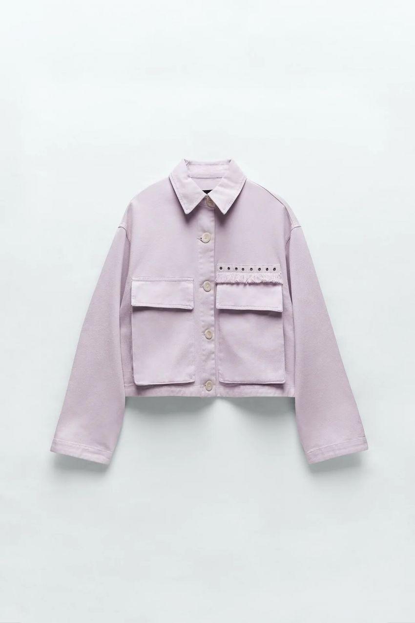 ljubičasta traper jakna, zara